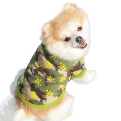 Mikey Store Pet Dog Skull Camouflage Pullover Fleece Warm Coat Cool Pet Clothes (Green, XS) ()