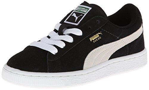 PUMA Suede Junior Sneaker (Little Kid/Big Kid) , Black/White, 4 M US Big Kid