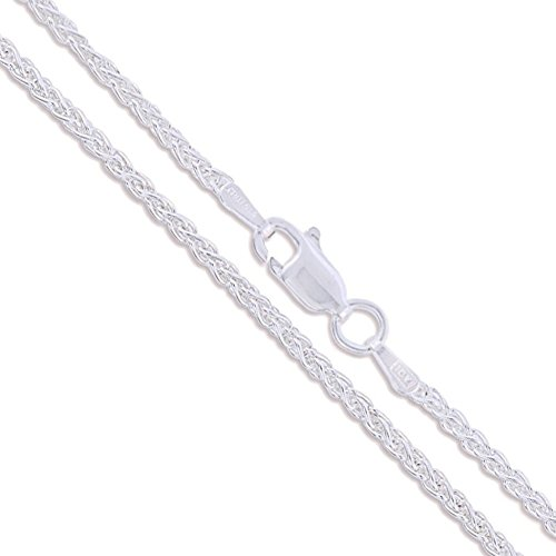 Chain Sterling Silver 925 Spiga - Sterling Silver Wheat Chain 1.9mm Solid 925 New Foxtail Spiga Necklace 24