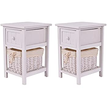 Giantex Set Of 2 Night Stand 2 Layer 1 Drawer Bedside End Table Organizer  Wood W/Basket