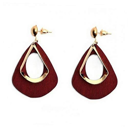 (Wausa Fashion Geometric Wood Drop Earrings Women Dangle Hollow Earring Jewelry | Model ERRNGS - 6573 |)