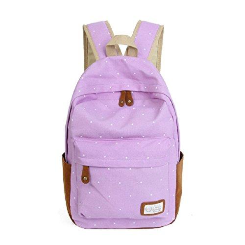 Malloom®doble-hombro niñas lona puntos Bolsa para la escuela estudiantes mochilas (rosa) morado claro