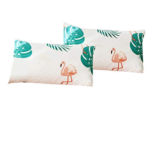 FenDie Green Tropical Leaves Flamingo Print Cotton Pillow Covers Decorative 2 Piece Lightweigh Reversible Standard Size Girls Boys Pillow Cases, Envelope Closure End, Cream White/Pink