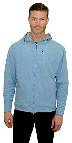 Mountain And Isles Mens Feeder Stripe Heather Fleece Zip Up X Large Eco Blue Heather