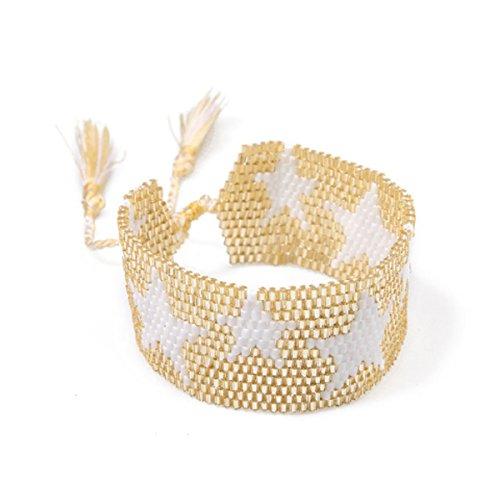 Beaded Bracelets Bangles for Women Boho Star Pattern Seed Beads Bracelet Cuff Bracelet Friendship Weave Tassel Jewelry (Yellow)
