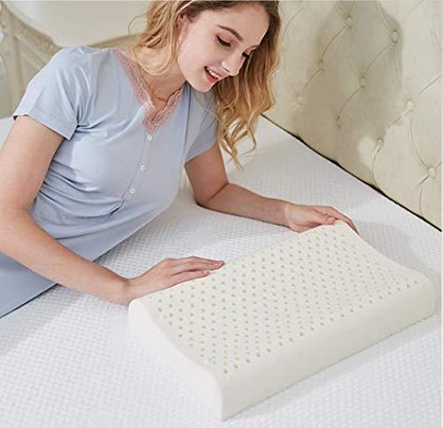 ZONMAI Cuscino Cervicale, Ergonomico Lattice Naturale Cuscino con Cuscino in Morbidezza Cotone Bianco Modello Doppia Onda Cuscino per Dormire, 44x27x6cm