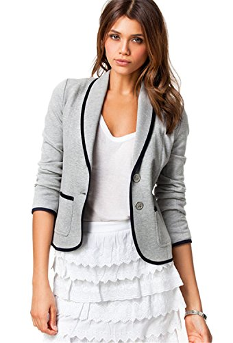 Arctic Cubic Fashion Long Sleeve Button Front Colorblock Contrast Piping Trim Cotton Blazer Coat Jacket Top Light Grey S