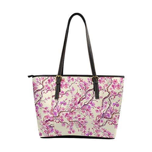 InterestPrint Women Tote Bags Top Handle Handbags PU Leather Purse Cherry Blossom Flowers Painting ()