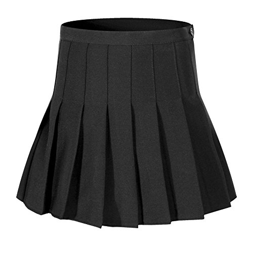 Beautifulfashionlife Women's Short Cheerleader Solid Pleated Mini Tennis Skirt(2XL, Black) for $<!--$25.99-->