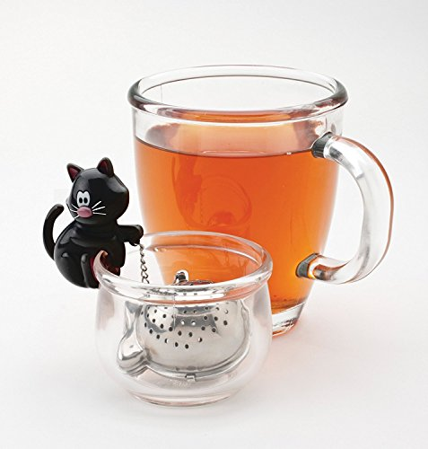 Joie Meow Cat Loose Tea Leaf Tea Infuser and Bowl Caddy, 18/8 Stainless Steel, Assorted Black and White