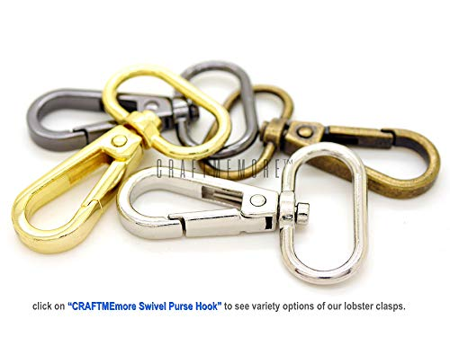 """CRAFTMEmore 3/4"""" 1"""" or 1-1/4"""" Push Gate Lobster Clasps Hooks Swivel Snap Fashion Clips Best Price Pack of 10 (Silver, 1 Inch)"""