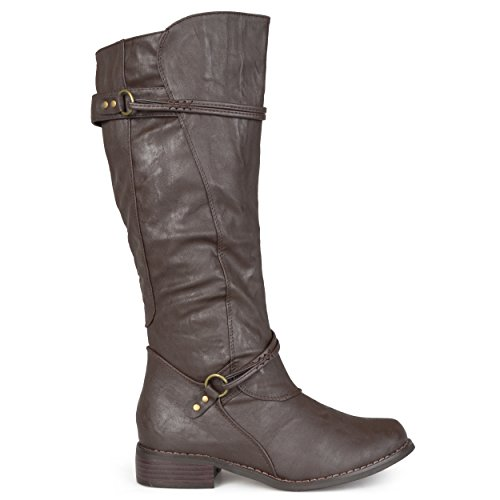 (Brinley Co. Womens Regular, Wide Calf and Extra Wide Calf Tall Buckle Riding Boots Brown, 6.5 Regular US)