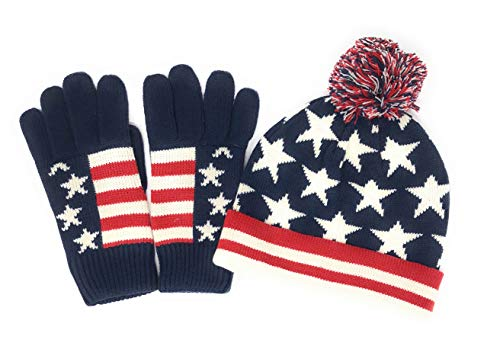 Unisex Red White Blue American Flag Patriotic Hat and Gloves Set Warm Winter Accessories Old Glory (American Flag)