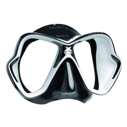 Liquid Crystal Lens - Mares Italian Design Premium Collection Liquid Skin Panoramic View Tempered Glass Lens Premium Scuba Snorkeling Mask Dry Snorkel Set, Crystal Black
