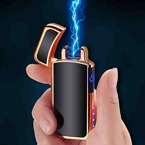 Aibote Dual Arc Plasma Metal Cigarette Lighter,with Power Indicator,Touch Sensor Switch,Electric Flameless Windproof USB Rechargeable Lighters (Black+Golden)