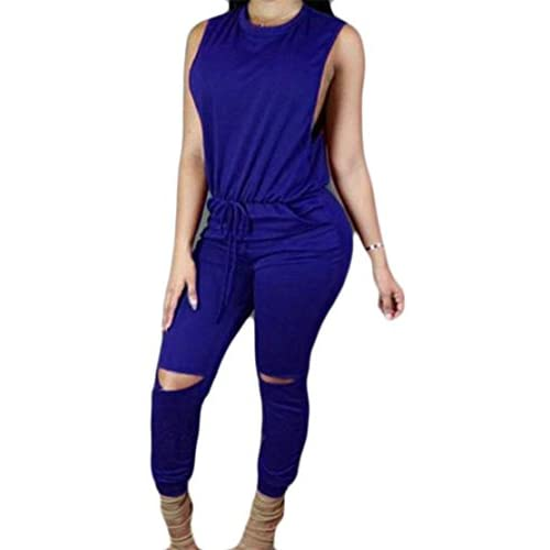 New Cromoncent Womens Casual Zip Sleeveless Holes Drawstring Long Jumpsuits Blue US-L for cheap