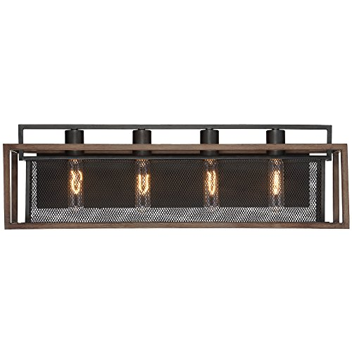 Varaluz 285B04DOBL Rio Lobo 4-Light Bath Fixture - Dark Oak Finish with Black ()