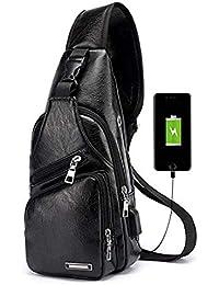 Men's Leather Sling Bag Small Shoulder Chest Crossbody Bag with USB Charging Port Black