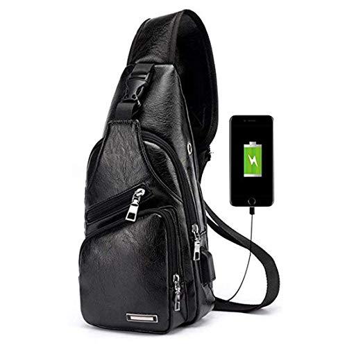 Men's Leather Sling Bag Chest Crossbody Shoulder Bag with USB Charging Port Black