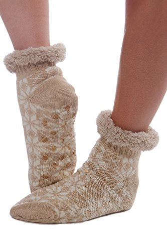 Women's Snowflake Faux Fur Holiday Booties with Grippers -Beige (I Feel Good Button compare prices)