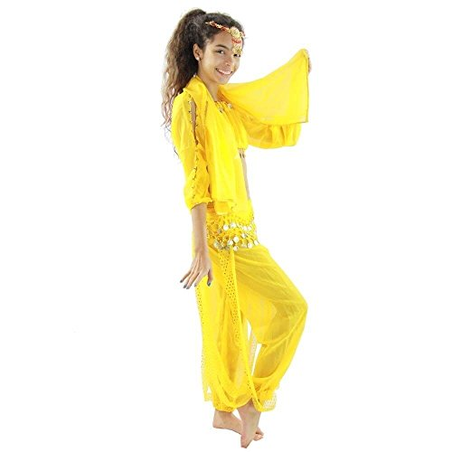 Yellow Belly Dance Costume - Danzcue Bollywood Long Lantern 5-Piece Children Belly Dance Costume, Yellow, Large