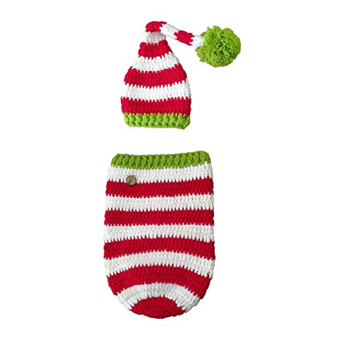 Baby Elf Outfits For Christmas (Newborn Baby Photography Prop Christmas, Besutana Stripe Crochet Knitted Outfits)