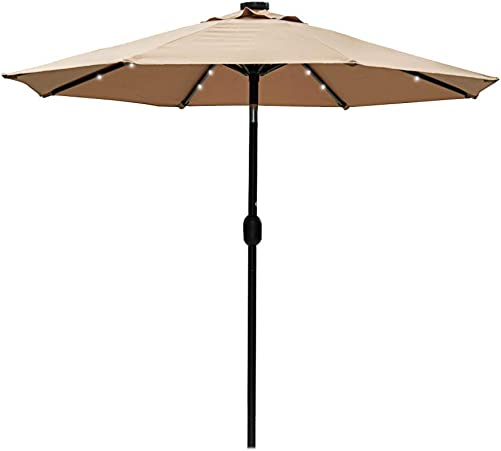 Sundale Outdoor 7 ft Solar Powered 24 LED Lighted Patio Umbrella Table Market Umbrella