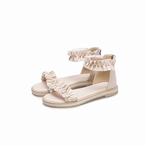 Carolbar Women's Lovely Fashion Flat Ankle-Strap Zip Date Sandals Beige o0DyUl