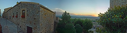 Posterazzi Poster Print Collection Medieval Town of Pals in Costa Brava Girona Province Catalonia Spain Panoramic Images, (21 x 6), Multicolored