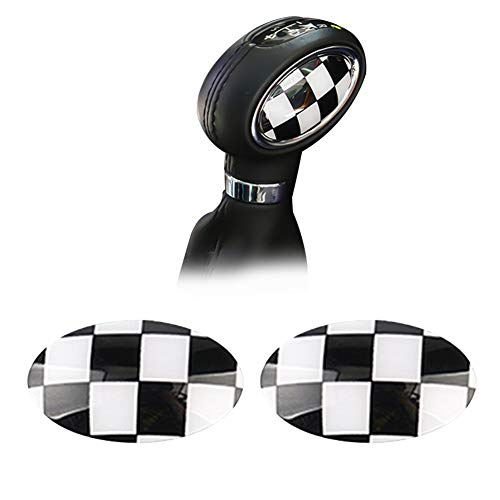 GTINTHEBOX (2 Black White Checkered ABS Shift Knob Automatic Trans Trim Badge Covers for Mini Cooper/Cooper S for Hardtop (F56), Hardtop 4-Door (F55), Convertible (F57) & Clubman ()