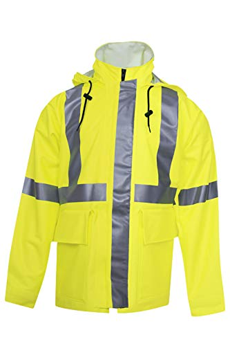 National Safety Apparel R30RL06XL Arc H2O FR Rain Jacket, Class 3, X-Large, Fluorescent Yellow