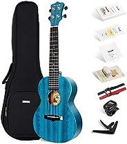 Enya Concert Ukulele 23 Inch Blue Solid Mahogany Top with Ukulele Starter Kit Includes Online Lessons, Case, S