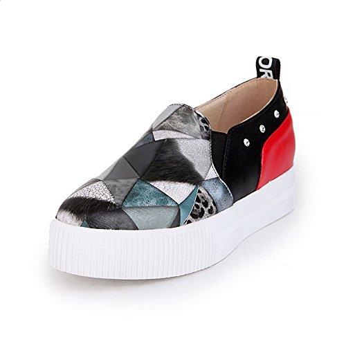 Amoonyfashion Damesslip Op Lage Hakken Pu Diverse Kleuren Rond Gesloten Teenpumps-schoenen Zwart