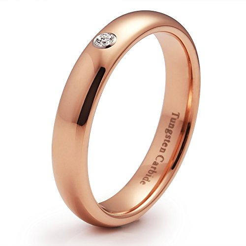 4mm Domed Tungsten Carbide Ring Rose Gold Plated CZ Inlay Engagement Band (Highly Polished)