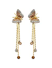 Neoglory Jewelry Crystal Yellow Flower Dangle Drop Earrings Embellished with Crystals from Swarovski