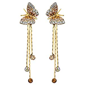 Neoglory 14k Gold Plated Rhinestone Yellow Drop Dangle Earring, Orange