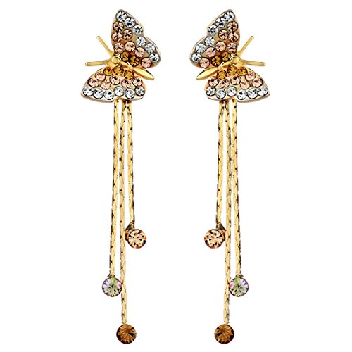 Neoglory 14k Gold Plated Rhinestone Yellow Drop Dangle Earring, - Jewelry Rhinestones Butterfly Earrings