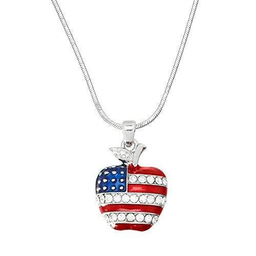 Price comparison product image Falari USA Flag Apple Pendant Necklace Rhinestone Crystal Hand Painted High Polished Rhodium J0329
