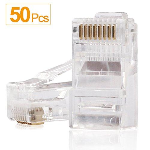 RJ45 Connectors,SHD RJ45 Ends Cat6 Connector Cat5e Connector Cat5 Connectors Ethernet Cable Crimp Connectors-50Pcs