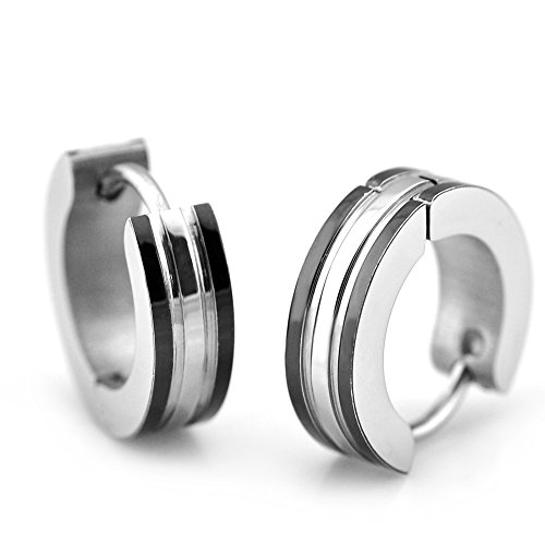 Sirius Jewelry Unisex Men's Black & Silver Tone Stainless Steel Huggie Hoop Earrings, 2pc