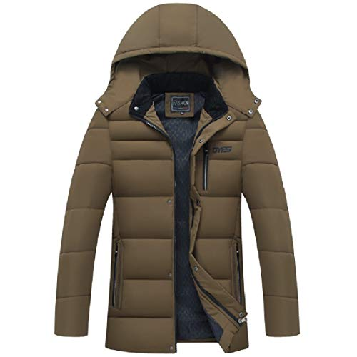 Removeable Keep Winter Energy Hood Thick Khaki Coat Warm Mens Down Casual p4ZUq