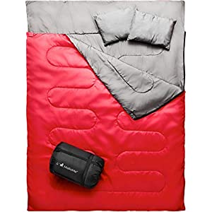 MalloMe Double Camping Sleeping Bag - 3 Season Warm & Cool Weather - Summer, Spring, Fall, Lightweight, Waterproof For Adults & Kids - Camping Gear Equipment, Traveling, and Outdoors - 2 Free Pillows!