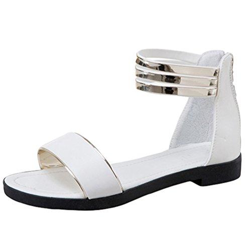 Sentao Bohemia Moda Sandalias de verano Zapatos Peep-dedo Sandalias Romanas Señoras Flip Flops Blanco