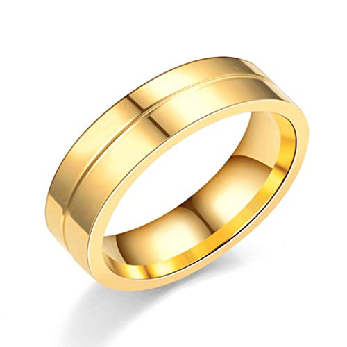 itanium Carbide Ring Wedding Band Gold Plated Couple Anillo Statement Jewelry Bridal US Size 6-13(Golden,Size 12) ()