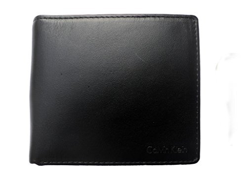 Calvin Klein 79349 Leather Passcase with Coin Pocket Key Fob Wallet Set (Black)
