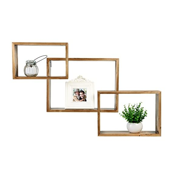 MyGift Wall-Mounted Torched Natural Brown Wood Interlocking Shadow Boxes, Floating Box Display Shelves, Set of 3 - Set of 3 interlocking wooden wall-mounted shadow boxes. A country rustic style unique wall mounted wood shelf in a light torched wood finish. The geometric shelf design is composed of 3 overlying rectangular boxes. - wall-shelves, living-room-furniture, living-room - 41lXKiQgPHL. SS570  -