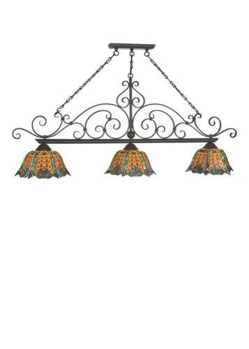 Meyda Tiffany 99901 Duffner and Kimberly Shell and Diamond Collection 3-Light Island Pendant, Timeless Bronze Finish with Stained Glass Shades