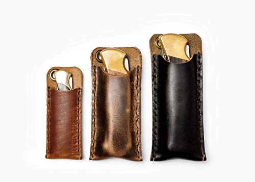 The Buck Slip - Leather EDC Pocket Knife Sleeve for Everyday ()