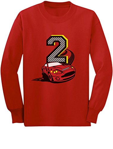2nd Birthday Race Car Party 2 Year Old Boy Toddler/Kids Long Sleeve T-Shirt 2T Red - Infant Boys Long Race Sleeve