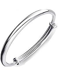 1 X Fashion Women Jewelry Solid 925 Sterling Silver Bangle Bracelet Gift (Silver)